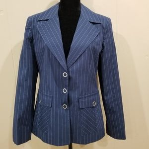 Cabi High Society Navy Pinstriped Blazer - 10